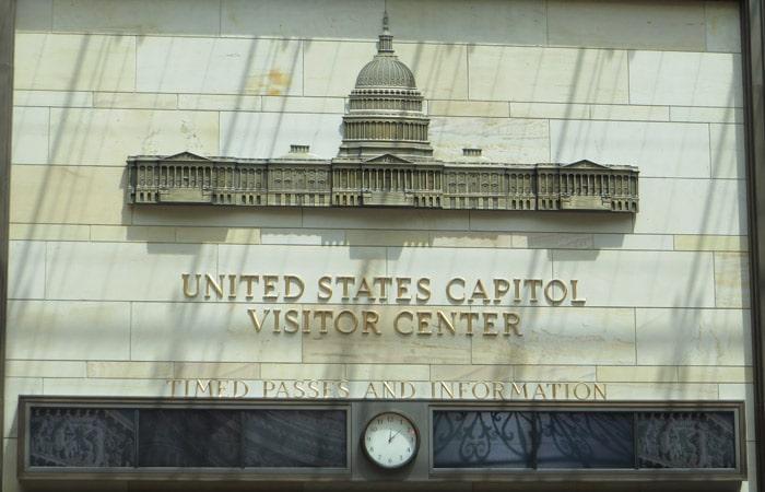 Placa en el Centro de Visitantes del Capitolio Washington