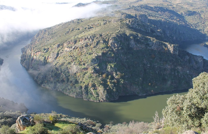 Gran meandro del Duero con niebla en Pinilla de Fermoselle