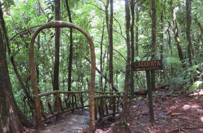Acceso a las escaleras que bajan a la catarata de Río Celeste