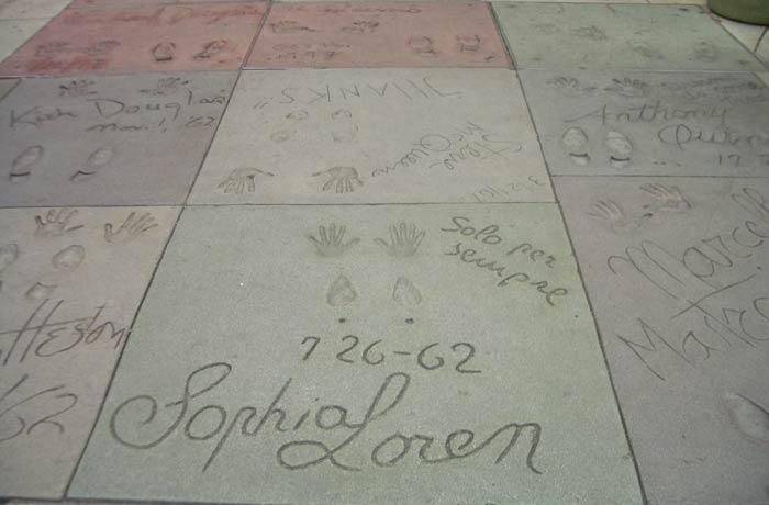 Huellas de Sophia Loren Paseo de la Fama de Hollywood