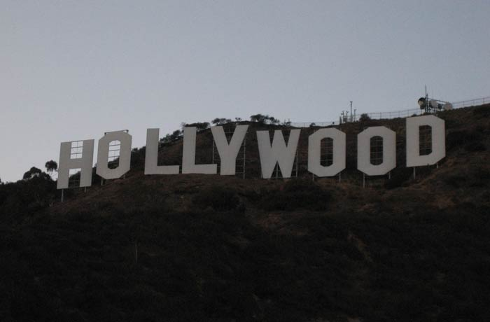 Otra vista de las letras del cartel de Hollywood