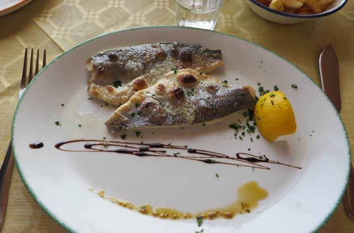 Lubina en un restaurante de Marsaxlokk Malta en cuatro días