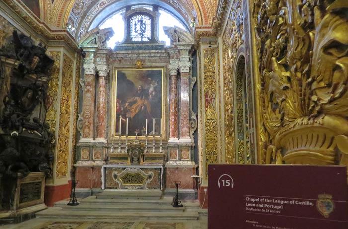 Capilla de la Lengua de Castilla, León y Portugal de la Concatedral de San Juan qué ver en La Valeta