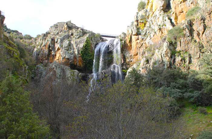 La vegetación tapa la vista de la cascada desde la pasarela inferior cascadas en Portugal